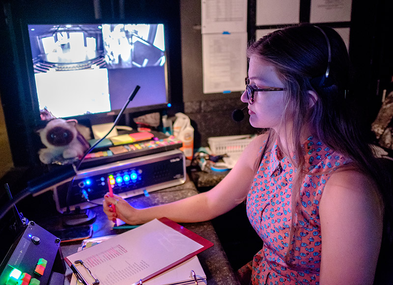 student with AV equipment