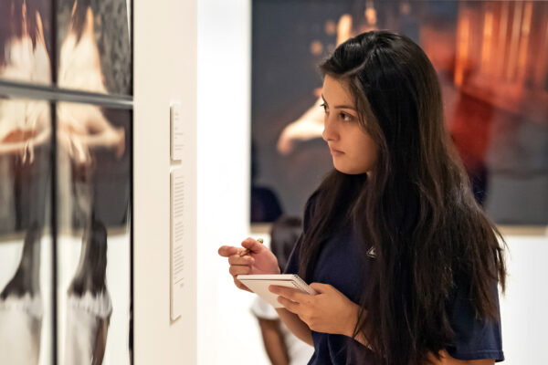 Student in art museum