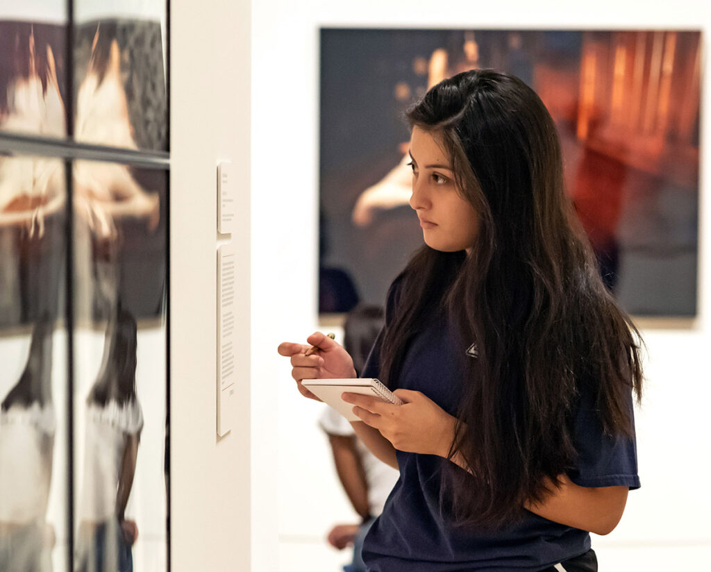 Student in the museum